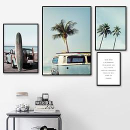 Paesaggio blu albero online-Blue Sea Sky Palm Tree Paesaggio Wall Art Canvas Painting Nordic Manifesti e stampe Immagini di decorazione per Living Room Decor