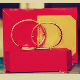 disegno del titanio Sconti Amore Bracciali argento oro rosa 316L acciaio al titanio braccialetti donne uomini cacciavite a vite Bracciale gioielli coppia con cofanetto originale