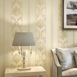 2019 papel tapiz del dormitorio vertical Lujo europeo 3D estéreo tallado papel pintado no tejido sala de estar dormitorio pared restaurante papel pintado de rayas verticales papel tapiz del dormitorio vertical baratos