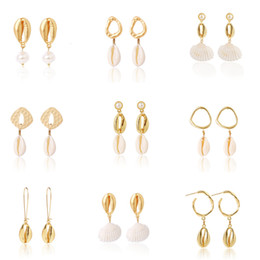 2019 раковины оптом New Design Shell Conch Drop Earrings Women Gold Color Statement Gift Jewelry Irregular Exaggerated Earring Wholesale скидка раковины оптом