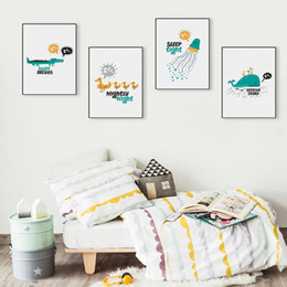 240caf30a3107 Kawaii Animaux Whale Duck Sleep Quotes Affiches et posters Nordic Enfants  Lit de bébé Chambre Mur Art Photos Home Decor Toile Peinture sleep quote  sortie