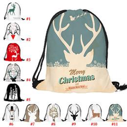 2020 mochilas drawstring pano Natal com cordão Bag Elk Padrão Drawstring Backpack Gift Bag Oxford pano de Cordas Pull mochilas drawstring pano barato