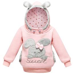 Chaqueta de conejo niña online-Ropa para niñas bebés Suéter de invierno 2018 Conejo para niños con capucha Chaqueta de manga larga con bolsillo para niños Sweatershirt 1-5 años