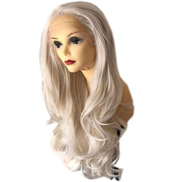 glueless wigs high density Promo Codes - Natural Body Wave Platinum Blonde High Temperature Fiber 180% Density Glueless Synthetic Lace Front Wig Natural Hairline For White Women