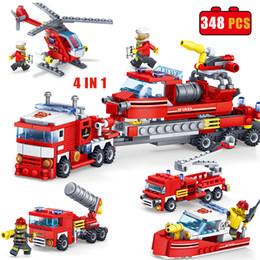 4 in 1 348 pz / set kit di costruzione di modello blocchi antincendio auto elicottero barca mattoni compatibili regali divertenti educazione fai da te giocattoli per bambini supplier funny bricks toy da giocattolo di mattoni divertenti fornitori