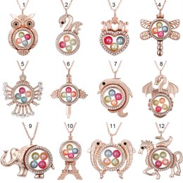 steel floats Coupons - Rose Gold Dragon Elephant Pegasus More Style 8mm Pearl Beads Cage Magnetic Glass Floating Locket Pendants Necklace Women Charms 27""