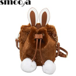 2019 borse a tracolla sveglie piccole SMOOZA Winter Soft Faux Fur Bag Cute Small Women Fur Tote Bag Warm Plush Handbag Ladies Crossbody Shoulder Messenger di lusso borse a tracolla sveglie piccole economici