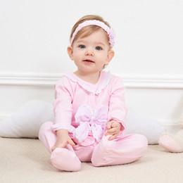 haifisch großhändler Rabatt Neugeborenes Baby Kleidung Spitze Blumen Strampler Kleidung Set Overall Stirnband 2 STÜCK Nettes Kind Cirls Strampler