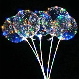 Stick ile Yeni LED Işıklar Balonlar Gece Aydınlatma Bobo topu Çok renkli Dekorasyon Balon Düğün Dekoratif Parlak Çakmak Balonlar nereden bebek varış parti malzemeleri tedarikçiler