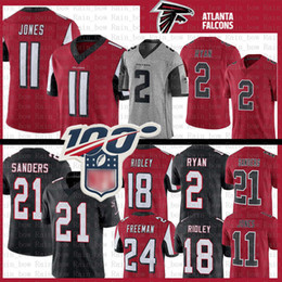 2019 colore del pullover di gioco del calcio Atlanta 11 Julio Jones Jersey Falcon 21 Deion Sanders 2 Matt Ryan 18 Ridley 24 Devonta Freeman Colour Rush balck rosso magliette da calcio colore del pullover di gioco del calcio economici