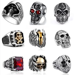 gothic stainless steel ring Promo Codes - Gothic Punk Men Stainless Steel Ring Vintage Hip Hop Skull Rings For Men Steampunk Jewelry Accessories 2019 Rings Drop Shipping