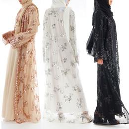 dubai tulle abaya Скидка ОАЭ Тюль платье с вышивкой для женщин с блестками кружева абая дубай кардиган абая джеллаба хиджаб исламская одежда Рамадан кафтан