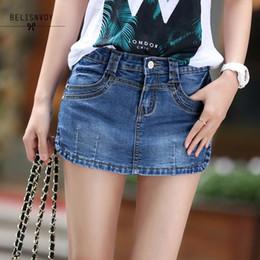 2019 fósforo da saia do denim Verão Denim Saia Shorts Feminino 2019 Moda Cintura Alta Trecho de Todos Os Jogo Das Mulheres Shorts Saia Plus Size Calça Jeans Azul J190507 fósforo da saia do denim barato