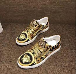 Calçados casuais on-line-Moda masculina de luxo do punk hip hop de couro de alta-top sapatos casuais sapatos baixos dos homens vestido de casamento sapatos zapatos hombre 641