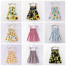 2019 vestito da frutta delle ragazze Baby Girl Dress Summer Sunflower Stampato Backless Abiti stampati a mano Stretch gonna senza spalline Toddler Kids Abbigliamento casual CLS297 vestito da frutta delle ragazze economici