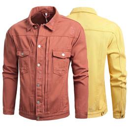 Casacos de denim laranja on-line-Moda Streetwear Homens Jaqueta de Estilo Coreano Rasgado Jaquetas Jeans Homens Casaco Designer de Laranja Cor Sólida Unisex Casaco de Hip Hop Mulheres