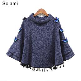 2019 пончо 3d весна женщины Водолазка пуловер кисточкой 3D бабочка мода свободные Batwing свитер дамы трикотажные пончо накидки пальто 1369 скидка пончо 3d