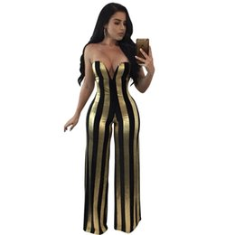 golden women pants Promo Codes - Sexy Shiny Deep V Strapless Jumpsuit Women Fashion Black Silver   Golden Stripe Slim Hip Nightclub Piece Pants Overalls