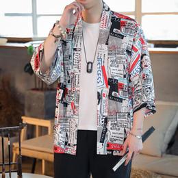 Argentina Chaquetas de hombre Chaqueta de verano estilo japonés de moda vintage Japón Chaqueta kimono Streetwear Hip Hop Loose Camisa Casual Estilo Cardigan Coat supplier vintage kimono jacket Suministro