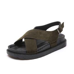 sandalias de plataforma plana de punta abierta Rebajas Mujeres Roma Sandalias 2019 Verano Zapatos Planos Mujer Plataforma Playa Sandalia de Punta Abierta Gladiador Estilo Mujer Calzado Casual SH031206