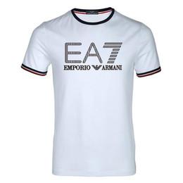 Stretch long t shirts en Ligne-T-shirt en coton mélangé de haute qualité mélangé de haute qualité, de style populaire européen, taille 6XL pour hommes et femmes, style 2019, imprimé avec la lettre EA7