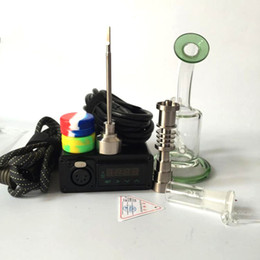 Vaporizador de hierba seca pequeña online-e kit de inicio de cig Kits de Dnail E-Nail enail con calentador de bobina WAX hierba seca Vaporizador Honeycomb Pequeño burbujeador titanio Carb Cap Ti Clavo