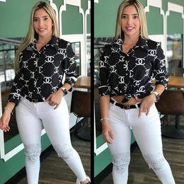 el envío libre 2019 mujeres Imprimir letra de la manera da vuelta-abajo camisa casual de manga larga delgado tapas de la camisa S-2XL de la Mujer de manga larga delgada camisa desde fabricantes