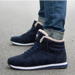 size adult shoes Promo Codes - Male Shoes Adult Men Boots New Men Shoes Warm Snow Boots Winter Sneakers Winter Plus Size 46 39 S