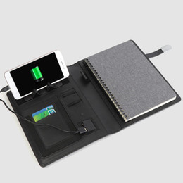 business planner notebook Promo Codes - NEW A5 business travel notebook planner with6000mAh 8000mAh power charger foldable cellphone stand rack cable gift