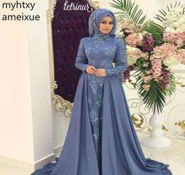 2019 faire une robe à col haut 2019 Personnalisé Arabe Saoudien Musulman Bleu Robe De Soirée Col Haut Hijab Manches Longues Vacances Femmes Portent La Robe De Soirée Formelle Custom Made faire une robe à col haut pas cher