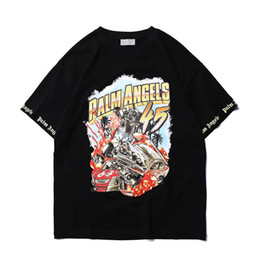 T-shirt per uomo online-2019 New Fashion Palm Angels 3d stampa T-Shirt Uomo Donna Hip Hop Casual Palm Angels Streetwear Stampa 3D Pittura Palm Angels Tshirt U1758