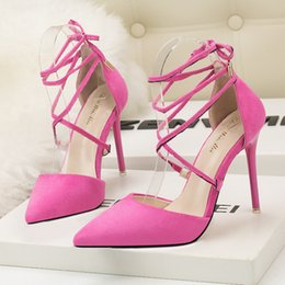 979a3e5f4f31 sexy strappy heels 2019 - Pumps Women Fashion Cross Strappy High Heels  Party Woman Shoes Pointed