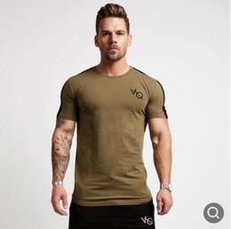 Top-gym-kleidung marken online-Beiläufiges Männer-T-Shirt kurze Hülse Patchwork-Rundhalsausschnitt-T-Shirt T-Shirts Tops Herren Fitness Marke T-Shirt Männer Gyms Bekleidung Bodybuilding Tops