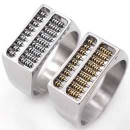 abacus gifts Coupons - Creative Titanium Steel Men Silver Rings Abacus Beads Rings Skull Skeleton Ring Puck Rock Biker Jewelry Dad Gift