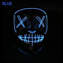 Bateria brilho escuro on-line-Máscaras do partido do Dia Das Bruxas Levou Máscara de Luz Até O Partido El Máscara Neon Maska Cosplay Rímel Mascarillas Mascarillas Brilho No Escuro Dc 3 v Bateria motorista