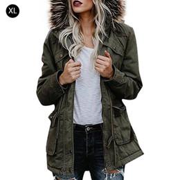 fc1855db061a9 Chaqueta de algodón con cuello de lana grande con capucha de otoño e invierno  para mujer