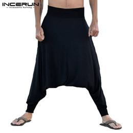 Argentina INCERUN Men Drop Crotch Harem Pants Joggers Solid Loose Casual Pantalones Hombres Entrenamiento Mujeres Yoga-pantalones Ocio Hip-hop Pants supplier drop crotch trousers women Suministro