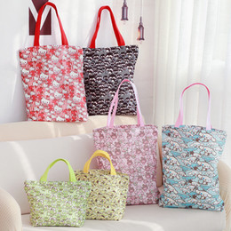 olá saco de compras do gatinho Desconto Desenhos animados Olá Kitty Melody Cinnamoroll Pudim Dog Canvas Shopping Bag Mulheres Sacos de Ombro Crianças Lunch Bag Eco Tote Bolsas