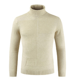 2019 nuevos estilos de suéter para hombre. 2018 New Style Fashion Hot Men Plain High Solid Sweater Pullover Turtleneck Slim Long Sleeve Basic Sweater rebajas nuevos estilos de suéter para hombre.