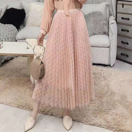 pannello esterno skater da ardere in pelle Sconti Elegant Plaid Tulle Skirt Women Long Pleated Tutu Skirt Party A-line 2 Layers Midi Mesh Vintage Female 2019 spring Summer