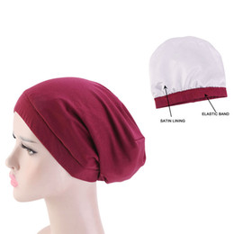 hair fall protection Coupons - Muslim Womens Elastic Band Satin Lining Cotton Beanie Turban Hat Cancer Chemo Cap Headwrap Hair Loss Cover Headwear Accessories