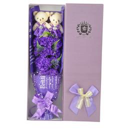 2019 giocattoli all'ingrosso delle bambine QWOK Festa della mamma Regalo Plush Bear Rose Simulazione Eternal Flower Garofano con scatola Purple Floral Birthday Gift Valentine's Day