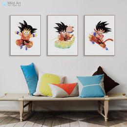 Deutschland rt Druckplakat Aquarell Japanische Karikatur Anime Drache Netter Goku Poster Prints Nordic Kinderzimmer-Wand-Kunst Bildwohnkultur Leinwand Pai ... cheap wall print anime Versorgung