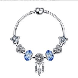 2019 bracelets à bracelet étoilé 2018 Pandora Style Charme Bracelets 925 Sterling Silver Blue Star Dreamcatcher Charmes Européens Perles Pour Charme Bracelets Bracelets Bijoux DIY bracelets à bracelet étoilé pas cher