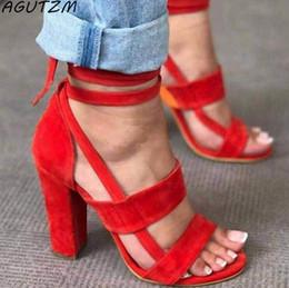 Sandales gladiateur à lacets en Ligne-Chaussures habillées griffées AGUTZM D'été 10cm Femme 2019 Femmes Sandales À Talons Hauts Gladiator À Lacets Tops Décontractés À Lacets À La Cheville
