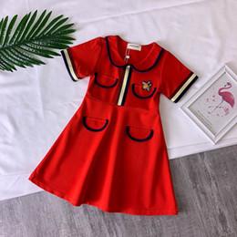 2019 robes d'été rouge pour les filles 2019 Robes d'été de mode pour filles Robes de princesse en coton Manches courtes Coton Robes décontractées Enfants vêtements de créateurs boutique vêtements pour enfants robes d'été rouge pour les filles pas cher