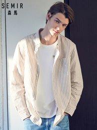 2019 moda urbana SEMIR Mens Fit Padrão Camisa de Manga Longa dos homens de Manga Comprida Camisa de Algodão Macho Urbano Moda Primavera Outono Tops Camisas moda urbana barato
