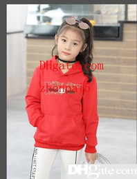 Marche korean dei vestiti del bambino online-Felpe con cappuccio per bambini Felpe con cappuccio per bambini Edizione coreana Ragazza Tempo libero Motion Sleeve Head Maglione Abbigliamento per bambini