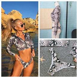 Canada 2 pcs nouvelle mode 2019 peau de serpent taille haute bandage à manches longues Bikini Set maillots de bain fille femelle Floral brésilien cheap high fashion brazilian bikinis Offre