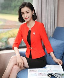 Moda Blazer Vermelho Mulheres Ternos de Negócios Vestido e Jaquetas Conjunto de Meia Manga Escritório Senhoras Uniformes de Desgaste do Trabalho cheap ladies red dress jacket de Fornecedores de jaqueta de vestido vermelho senhoras